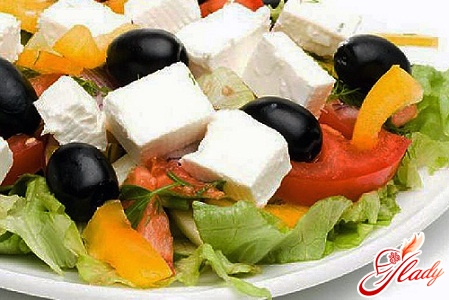 delicious salad with olives and corn