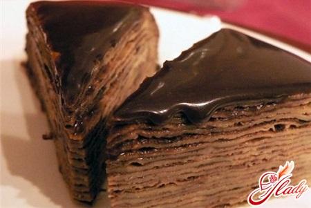 pancake cake with chocolate
