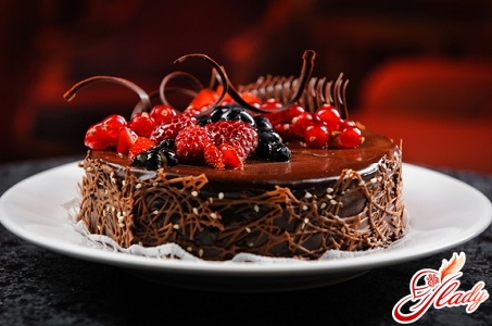 chocolate cake on yogurt
