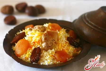 quick recipe for sweet pilaf with dried fruits