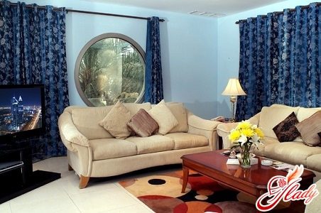 beautiful combination of colors in the interior of the living room