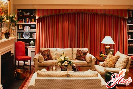 a combination of colors in the interior of the living room