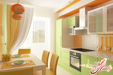 a combination of colors in the interior of the kitchen