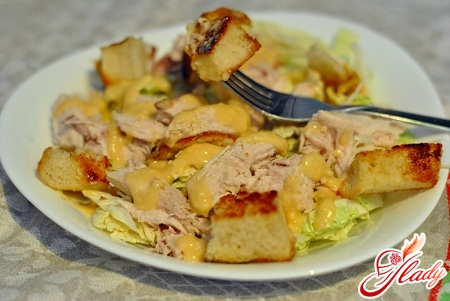 tasty Caesar salad with shrimps