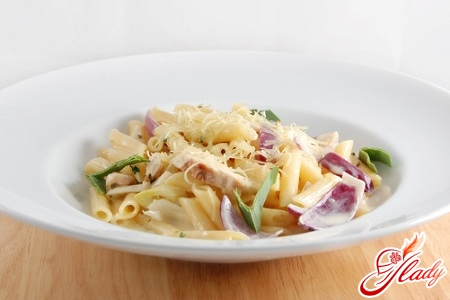 spaghetti with mushrooms and chicken in creamy sauce