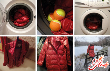 Stages of proper washing of the down jacket