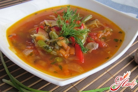 simple vegetable soup with aubergines