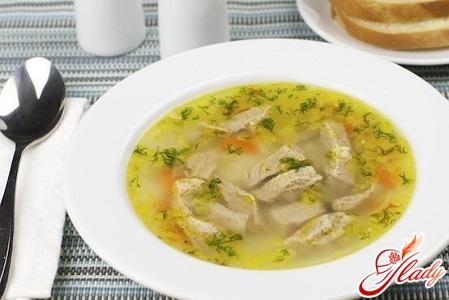soup with beef on mushroom broth