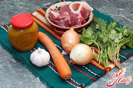 Ingredients for soup making with the addition of Coca Cola