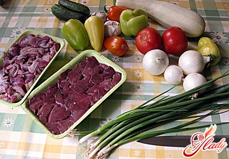 Ingredients for soup with chicken hearts