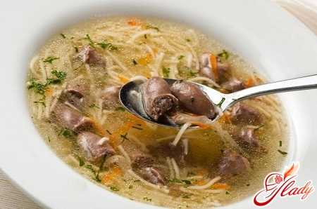 delicious soup from chicken hearts