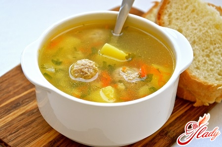 delicious soup with meatballs