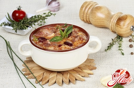 delicious soup of beef with beef