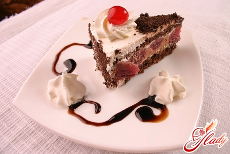 cake with cottage cheese and cherries