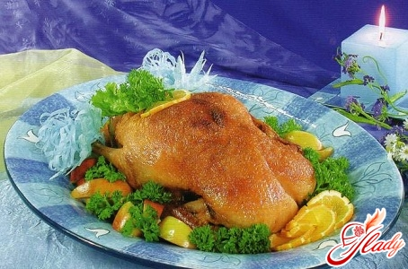 duck with oranges and apples