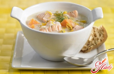 cooking soup from salmon