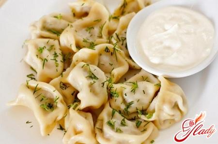 homemade dumplings with potatoes and mushrooms