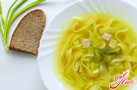 different recipes of chicken soup with home-made noodles