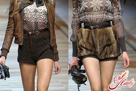 моделі зимових в'язаних і хутряних жіночих шорт