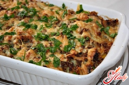 casserole with meat and mushrooms