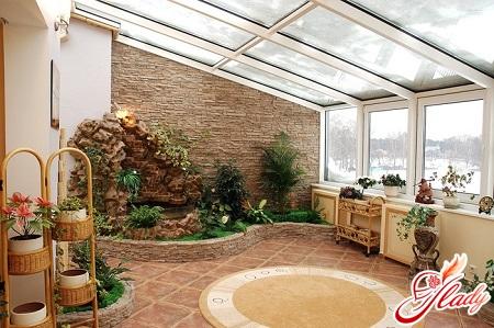 design of a winter garden in an apartment